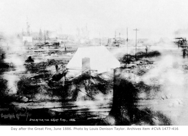 Morning after the Great Fire in 1886. VPL# 1094. Photographer / Studio: Devine, H.T.