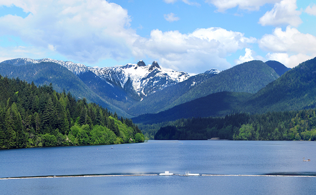 Capilano Lake and The Lions seen from Cleveland Dam