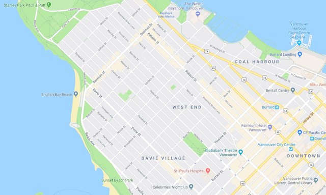 Vancouver West End Google Map