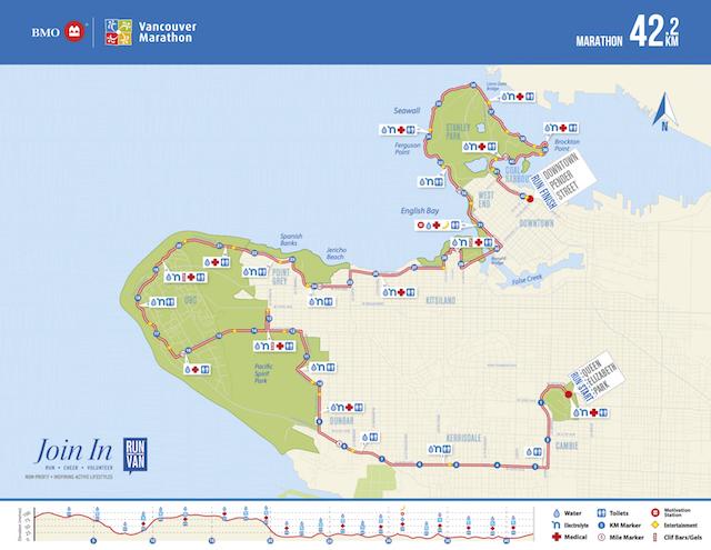BMO Vancouver Marathon Map 2018