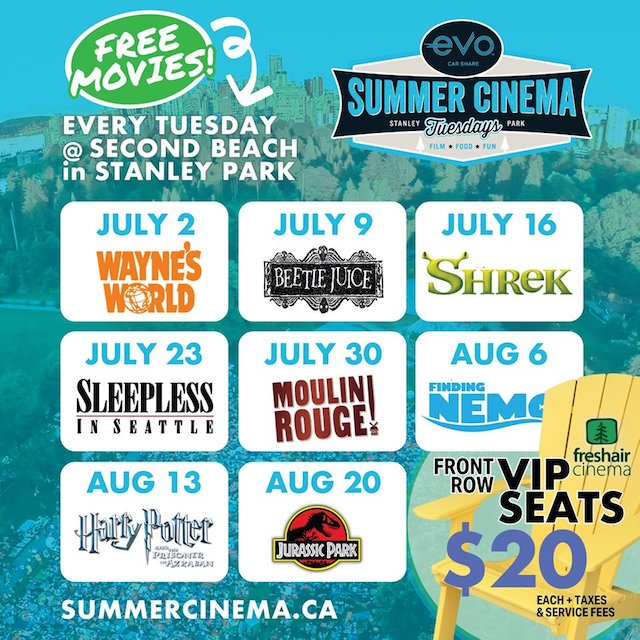 Free outdoor movies in Stanley Park 2019