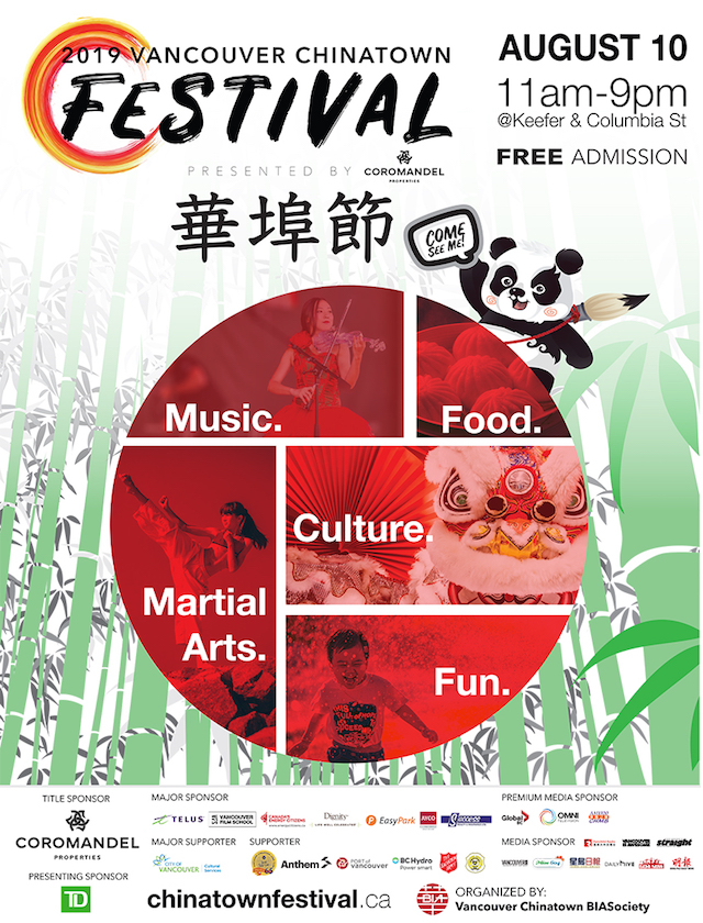 Post for the 19th annual Vancouver Chinatown Festival on August 10, 2019