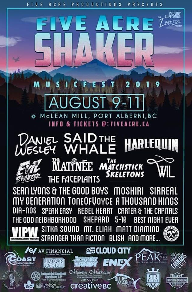Five Acre Shaker Lineup 2019