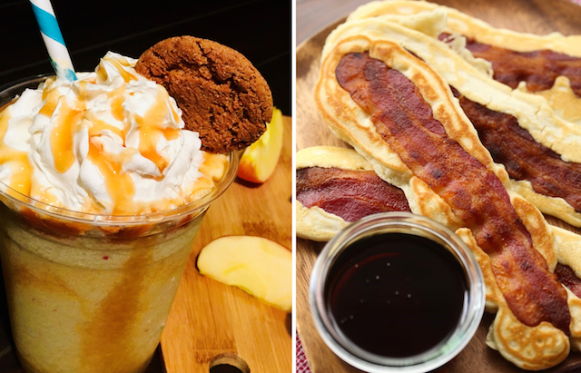 Apple Pie Smoothie and Bacon Pancakes