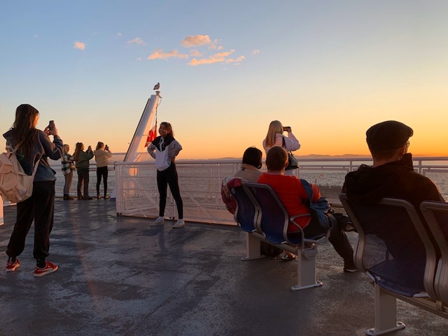 Photo ops abound at sunset on the ferry