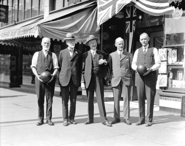 1929 Bowling tournament, people in front of LaSalle Recreations Ltd., 945 Granville. Archives #CVA 99-2058.