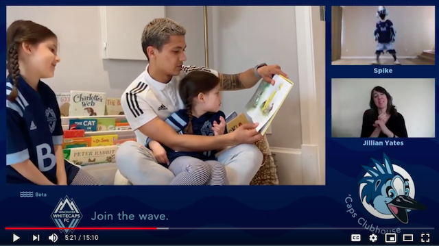 """Fredy Montero and his girls read """"Happy Easter, Curious George"""" and Whitecaps FC anthem singer Marie Hui makes her first appearance in the latest episode of 'Caps Clubhouse, presented by BCAA."""