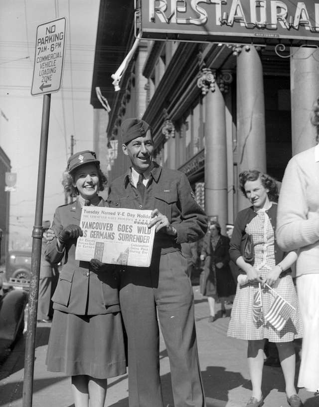 V-E Day in Vancouver. Vancouver Daily Province. May 7, 1945. Archives #CVA 586-3852