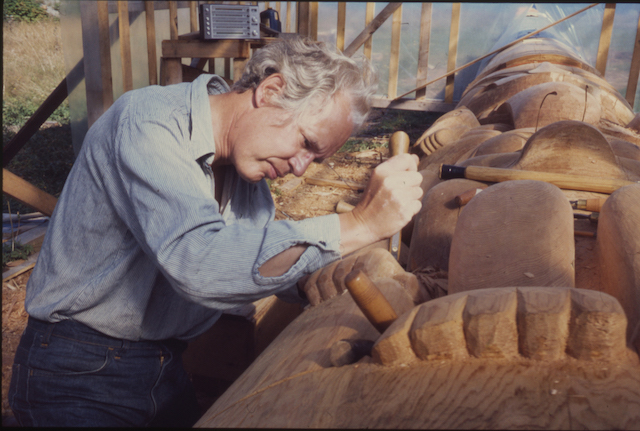 Portrait of Bill Reid, c.1976. Painting by Chris Hopkins in 2005. Courtesy of the Bill Reid Gallery of Northwest Coast Art.