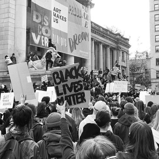 Image from a protest by Black Vancouver