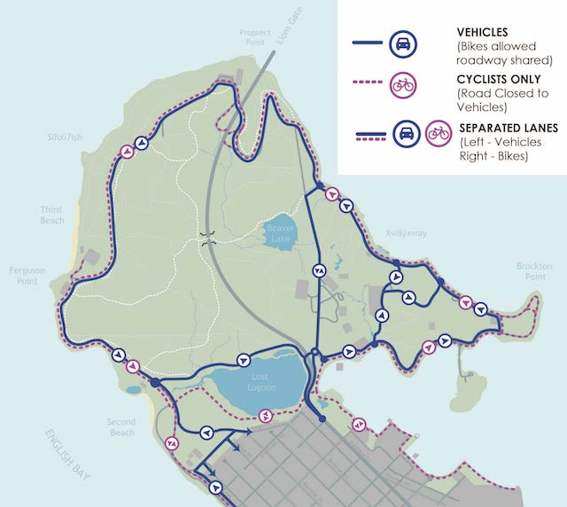 StanleyPark will reopen to vehicles tomorrow at 1pm with a new temporary traffic plan that will see cyclists and vehicles share the roadway to support #physicaldistancing. Lanes will be clearly delineated with bike access on the right lane and motor vehicles on the left.