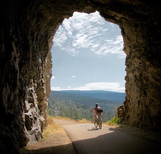 John riding through Little Tunnel above Naramata in the South Okanagan