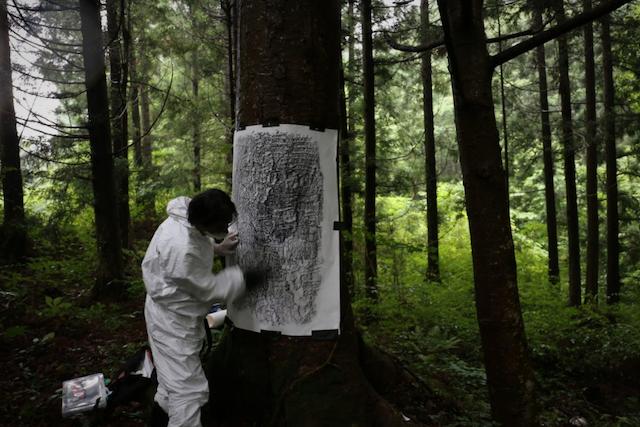 Masao Okabe making a frottage of an irradiated tree In Ōkuma Town, Fukushima Prefecture, 2015. Photo: Chihiro Minato.
