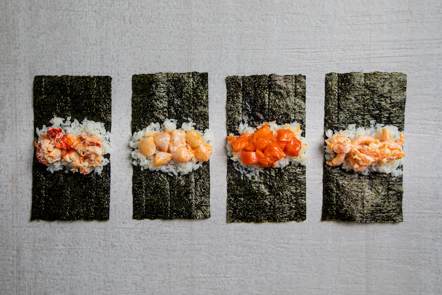 Hello Nori rolls: Truffle lobster, scallop, spicy salmon, shrimp